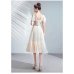 Elegant Mediu-length V-neck Lace-up Champagne Bridesmaid Dress New Arrival