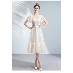 Elegant Mediu Length V Neck Lace Up Champagne Bridesmaid Dress