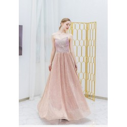 A-line Floor-length Pink Prom Dress Sequined Sparkle & Shine Strapless Bridesmaid Dress With Sequines