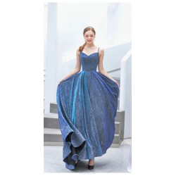Bright and Dazzling Long Blue Ball Gown Sequined Sparkle & Shine Lace-up Spaghetti Straps Party Dress