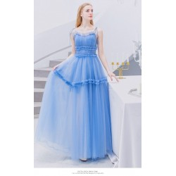 Fashion Floor Length Blue Evening Dress Lace Up Spaghetti Straps Lotus Leaf Hem Prom Dress