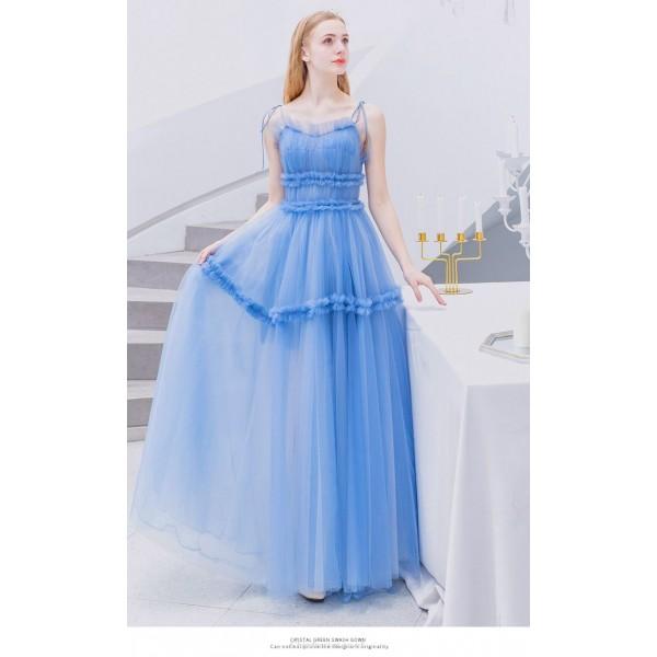 Fashion Floor-length Blue Evening Dress Lace-up Spaghetti Straps Lotus Leaf Hem Prom Dress New Arrival