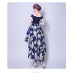 Fashion Printing Front Short Rear Length Blue Satin Chiffon Bridesmaid Dress Lace-up Off The Shoulder Party Dress New Arrival