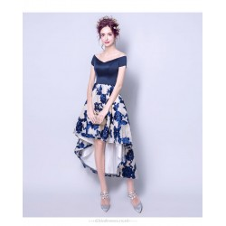 Fashion Printing Front Short Rear Length Blue Satin Chiffon Bridesmaid Dress Lace-up Off The Shoulder Party Dress