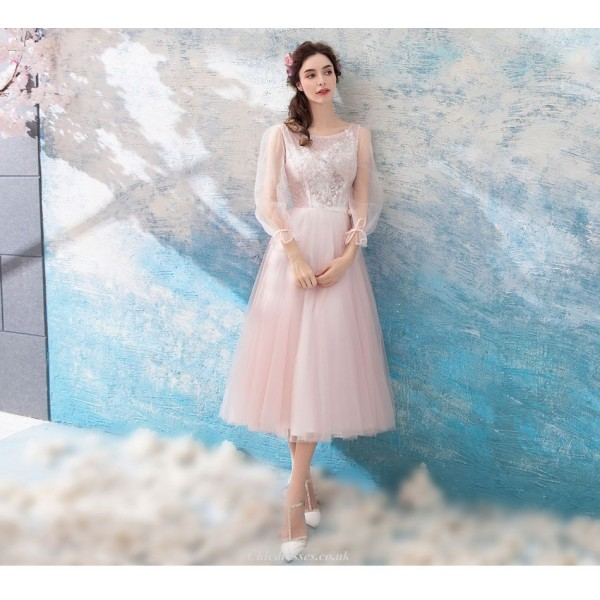Romantic Medium-length Pink Tulle Bridesmaid Dress Boat-neck Lace-up Lace Long Sleeves Prom Dress New Arrival