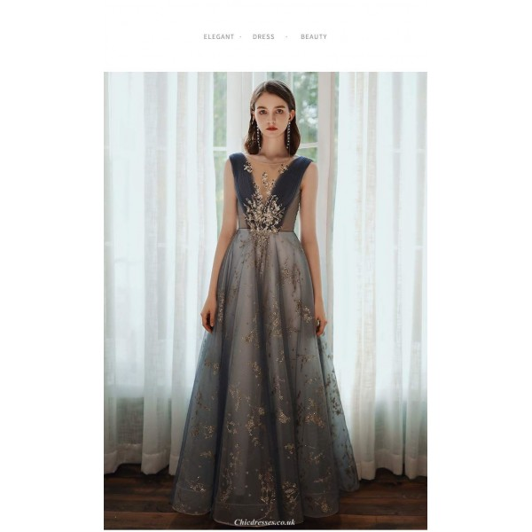High-end Floor-length Brilliant Romanble Blue Tulle Prom Dress Illusion-neck Low Back Lace-up Strapless Party Dress With Sequines New Arrival