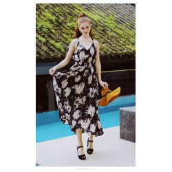 Sexy Ankle Length Textile Printing Chiffon Prom Dress V Neck Fashion Backless Party Dress
