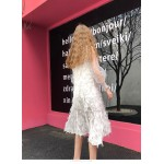 Fashion Medium-length Down Yarn White High-neck Party Dress New Arrival