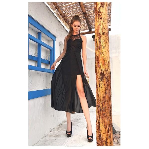 Sheath/Column Medium-length Black Chiffon Party Dress Fashion Lace-neck Zipper Back Prom Dress With Side Slit New Arrival