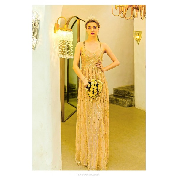 Sheath/Column Floor-length Gold Prom Dress Sequined Sparkle & Shine Criss Cross Straps V-neck Party Dress With Sequines New Arrival
