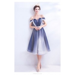 Fashion Medium Length Blue And White Gradient Prom Dress Off The Shoulder Lace Up Cocktail Party Dress With Sequines