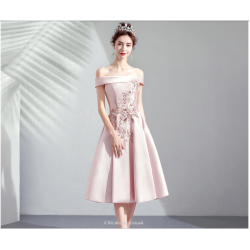 A-Line Medium-length Blushing Pink Prom Dress Off The Shoulder Exquisite Embroidery Bridesmaid Dress