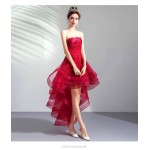 Fashion Front Short Rear Length Burgundy Tulle Party Dress Strapless Lace-up Prom Dress With Appliques New Arrival