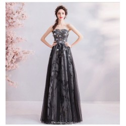 Noble and Elegant Floor-length Black Evening Dress Strapless Lace-up Handmade Flowers Party Dress