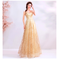 Brilliant Floor-length Gold Tulle Prom Dress Sequined Sparkle & Shine V-neck Lace-up Party Dress With Sequines