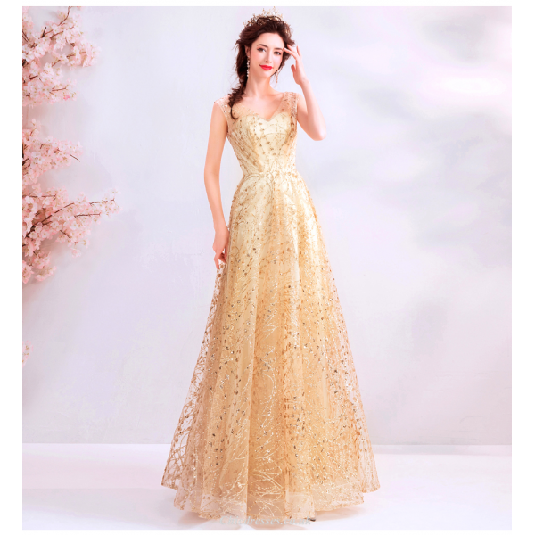 Brilliant Floor-length Gold Tulle Prom Dress Sequined Sparkle & Shine V-neck Lace-up Party Dress With Sequines New Arrival