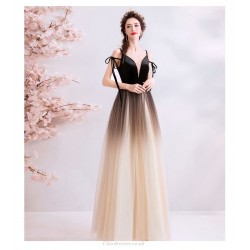 Fashion Floor Length Black And White Gradient Prom Dress Deep V Neck Lace Up Straps Straps Party Dress