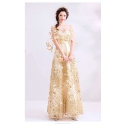 Sequined Sparkle & Shine Floor Length Gold Prom Dress Keyhole Back Lace Up Fashion Feifei Sleeve Party Dress With Sequines