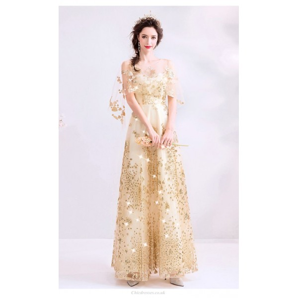 Sequined Sparkle & Shine Floor-length Gold Prom Dress Keyhole Back Lace-up Fashion Feifei Sleeve Party Dress With Sequines New Arrival