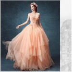 Glamorous Asymmetrcal Illusion Boat-neck Invisible Zipper Back Prom Dress With Beaded//Appliques New Arrival