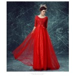 A-line Floor-length Red Lace Evening Lace Collar Zipper Back Half Sleeves Engagement Dress New Arrival