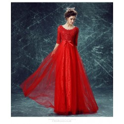 A-line Floor-length Red Lace Evening Lace Collar Zipper Back Half Sleeves Engagement Dress