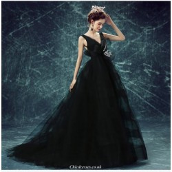 Fashion V Neck Backless Black Sweep Brush Train Evening Dress With Bowknot