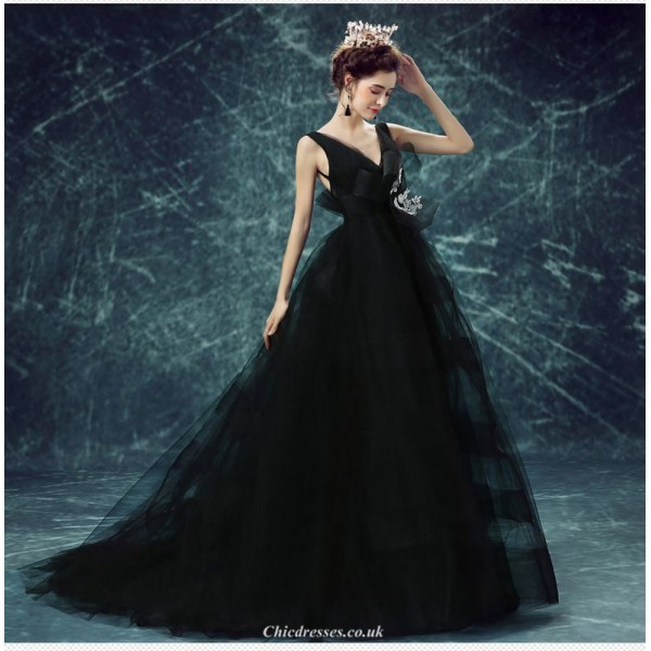 Fashion V-neck Backless Black Sweep/Brush Train Evening Dress With Bowknot New Arrival