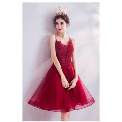 A Line Knee Length Burgundy Tulle Lace Party Dress Spaghetti Straps Lace Up Bridesmaid Dress With Sequines