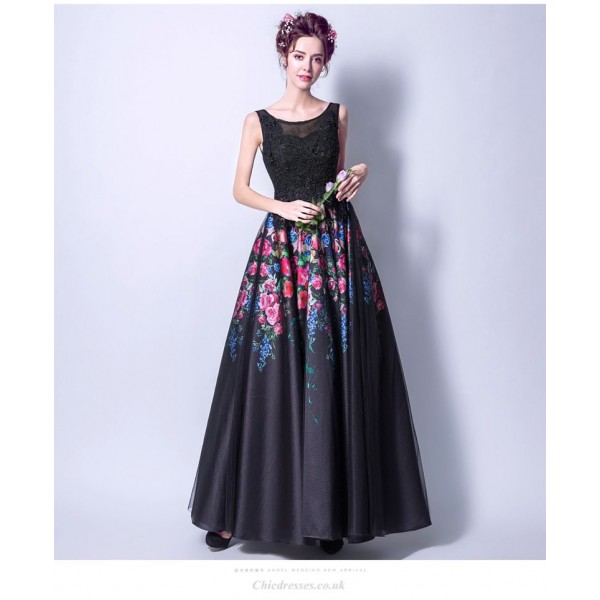 A-line Floor-length Colorful Flowers Black Lace-up Evening Dress With Beaded New Arrival