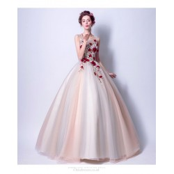 New Fashion Light White Soft Pink Dark Red Flower Embroidery Keyhole Back Lace-up Floor-length Ball Gown