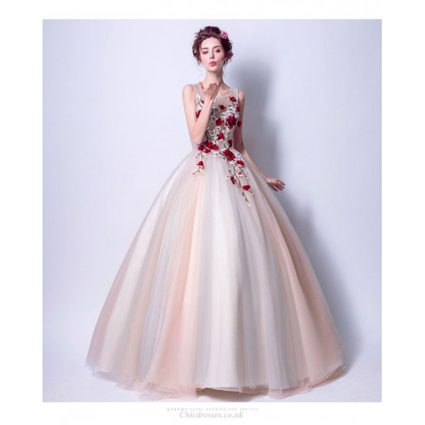 New Fashion Light White Soft Pink Dark Red Flower Embroidery Keyhole Back Lace-up Floor-length Ball Gown New Arrival