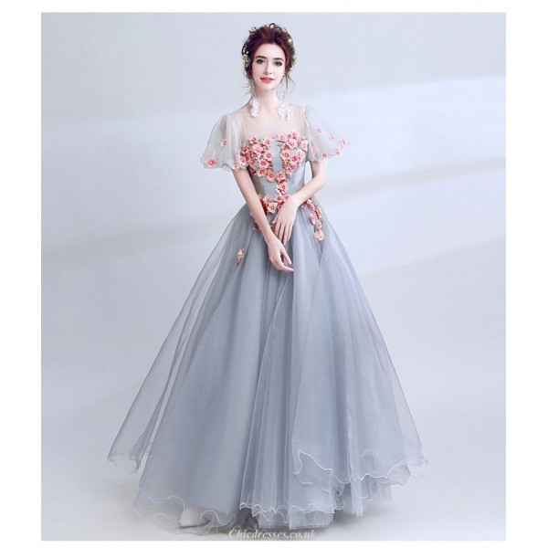 A-line Floor-length Grey Prom Dress Handmade Stereoscopic Flowers With Beaded Invisible Zipper Party Dress New Arrival