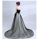 Noble and Elegant Sweep/Brush Train Prom Dress Strapless Embroidery Lace-up Black Evening Dress New Arrival