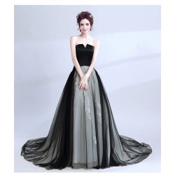 Noble and Elegant Sweep/Brush Train Prom Dress Strapless Embroidery Lace-up Black Evening Dress