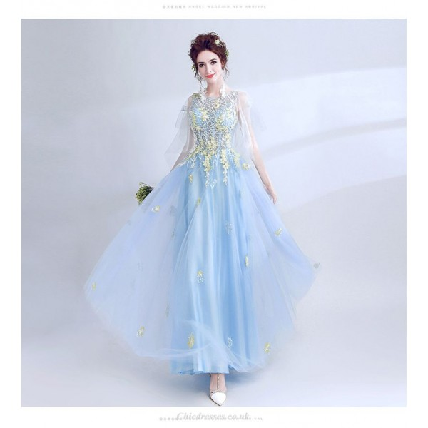 Elegant Fresh Water Blue Long Tulle Sleeve Lace-up Prom Dress With Appliques New Arrival