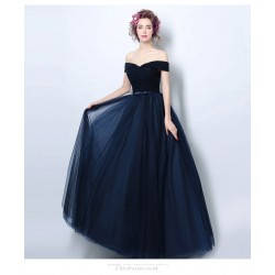 A Line Floor Length Deep Blue Evening Dress Off The Shoulder Lace Up Bridesmaid Dress With Sashes