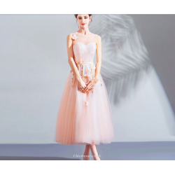 A-line Medium-length Pink Tulle Butterfly Embroidery 3D Stereoscopic Flowers Bridesmaid Dress