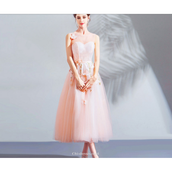 A-line Medium-length Pink Tulle Butterfly Embroidery 3D Stereoscopic Flowers Bridesmaid Dress New Arrival