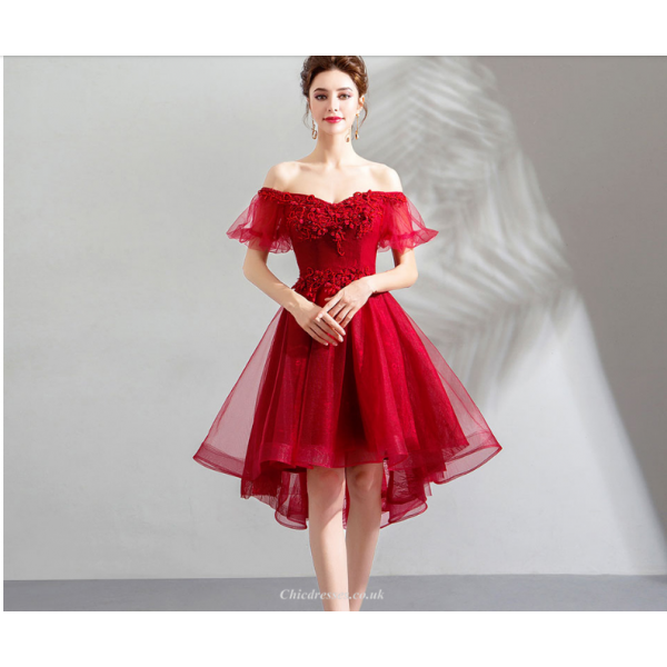 Fashion Front Short Rear Length Red Tulle Party Dress Off The Shoulder Lace-up Engagement Dress With Sequines New Arrival