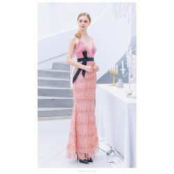 Fashion Sheath Column Pink Fringed Shiny Prom Dress Spaghetti Straps Lace Up Party Dress With Sequines