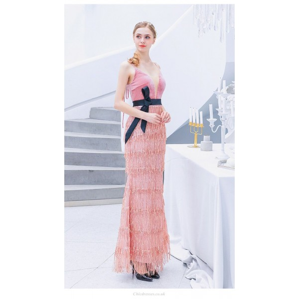 Fashion Sheath/Column Pink Fringed Shiny Prom Dress Spaghetti Straps Lace-up Party Dress With Sequines New Arrival