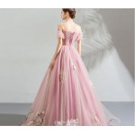 Romantic Floor-length Pink Tulle Bridesmaid Dress Exquisite Embroidery Off The Shoulder Lace-up Evening Dress New Arrival