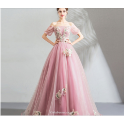 Romantic Floor-length Pink Tulle Bridesmaid Dress Exquisite Embroidery Off The Shoulder Lace-up Evening Dress