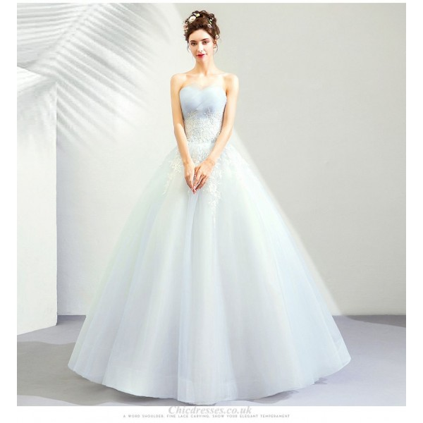 Romantic Floor-length Light Blue Prom Dress Strapless Lace-up Three Dimensional Lace Embroidery Bridesmaid Dress New Arrival