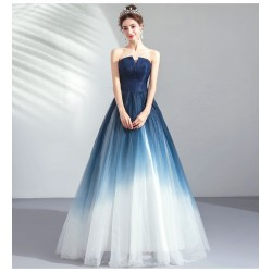 Noble and Bright Floor-length Blue to White Evening Dress Fashion Slit Strapless Lace-up Bridesmaid Dress