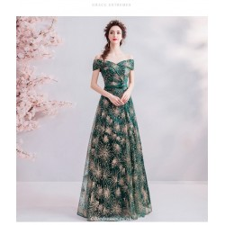 Allure Floor-length Blackish Green Prom Dress Off The Shoulder Lace-up Sequined Sparkle & Shine Party Dress