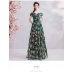 Allure Floor-length Blackish Green Prom Dress Off The Shoulder Lace-up Sequined Sparkle & Shine Party Dress New Arrival