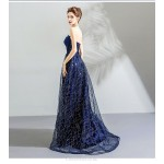 Brilliant A-line Strapless Sequined Sparkle & Shine Lace-up Evening Dress With Sequines New Arrival