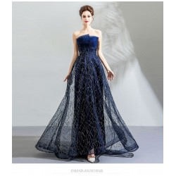 Brilliant A-line Strapless Sequined Sparkle & Shine Lace-up Evening Dress With Sequines